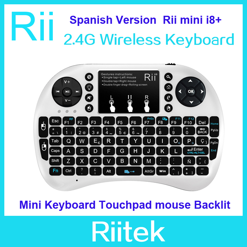 Original Spanish Keyboard Rii mini i8+ 2.4G Wireless Keyboard Qwerty Touchpad mouse Backlit Combo gaming Teclado for PC Tablet(China (Mainland))