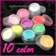 Free Shipping - 10 Neon Colors Nail Art FLUORESCENT Acrylic Glitter Powder Set for false nail tip uv gel polish decoration NA471(China (Mainland))
