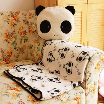 Free shipping /wholesale lovely panda pattern multifunctional child kids stuffed toy gifts/sofa cushion/air condition blanket(China (Mainland))