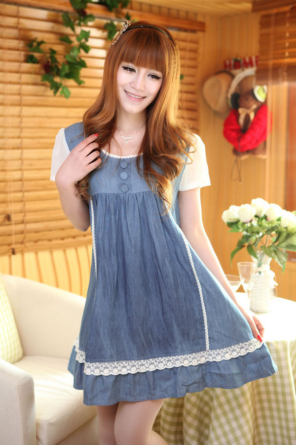 2015 large size Korean maternity clothes soft denim natural shrinkage pregnant women one piece dress short sleeve - Rella Song's store