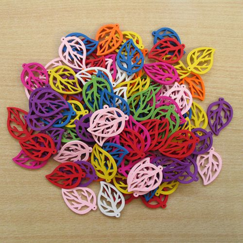 free ship! 100pcs Leaf design solid multicolor wood beads flower charm pendant/43*28mm 002002004(China (Mainland))