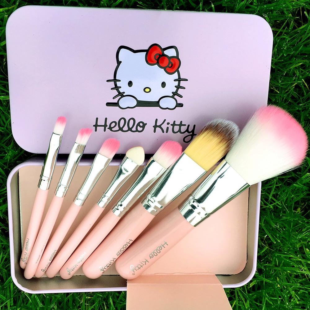 7 pcs/lot Hello Kitty Professional Makeup Brush Set Foundation Eye Face Shadows Make Up Brushes Kit Tools 2303(China (Mainland))
