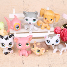 New style 7pcs/set LPS littlest pet shop doll ornaments head can move doll plastic ornaments birthday gift(China (Mainland))