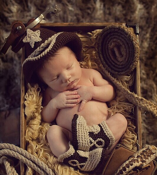Crochet Baby Cowboy Hat and Boots Set Newborn Fotografia Photo Props Handmade Knitted Toldder Cow Boy Hat and Bootie(China (Mainland))