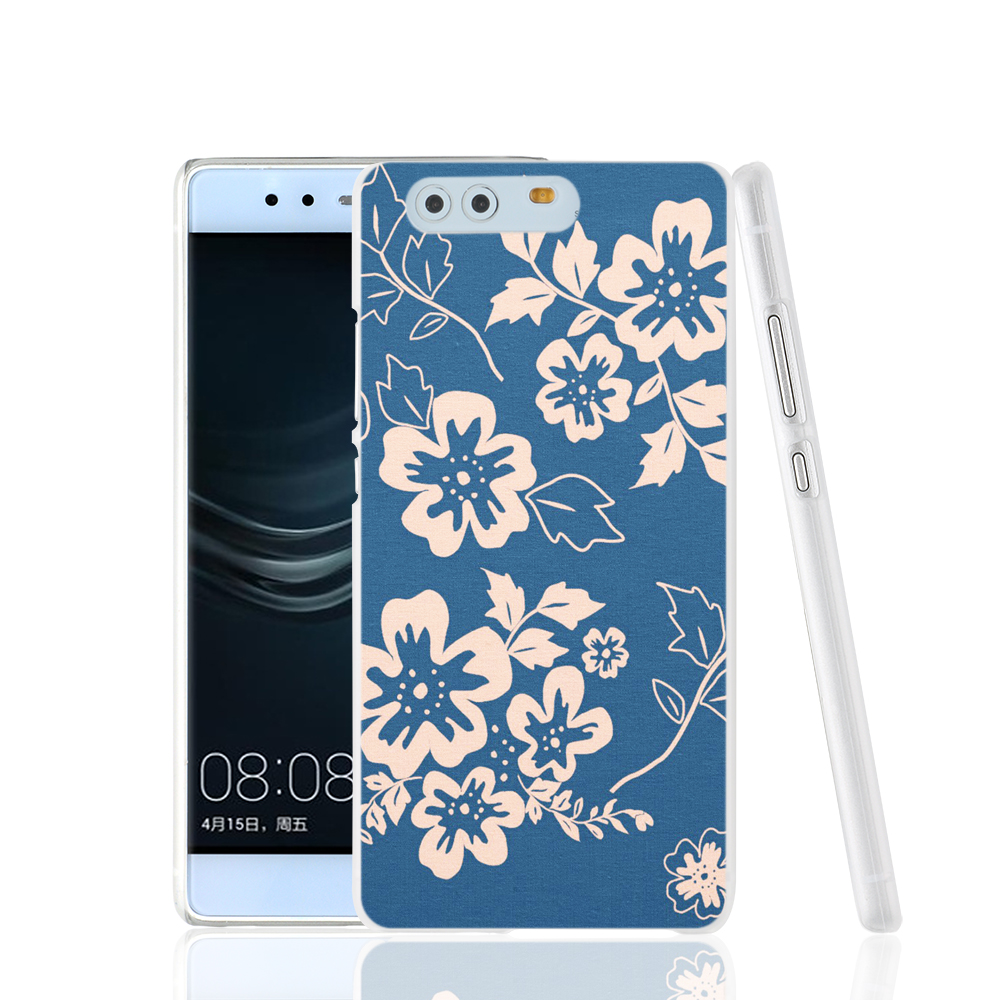 21339 navy blue and coral floral pattern fabric cell phone Cover Case for huawei Ascend P7 P8 P9 lite mini Maimang G8(China (Mainland))