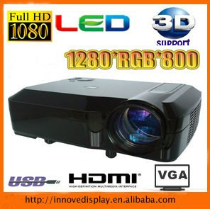 Full HD 3D LED projector 2500lumens with USB HDMI TV tuner for home theater entertainment Free Shiping(China (Mainland))