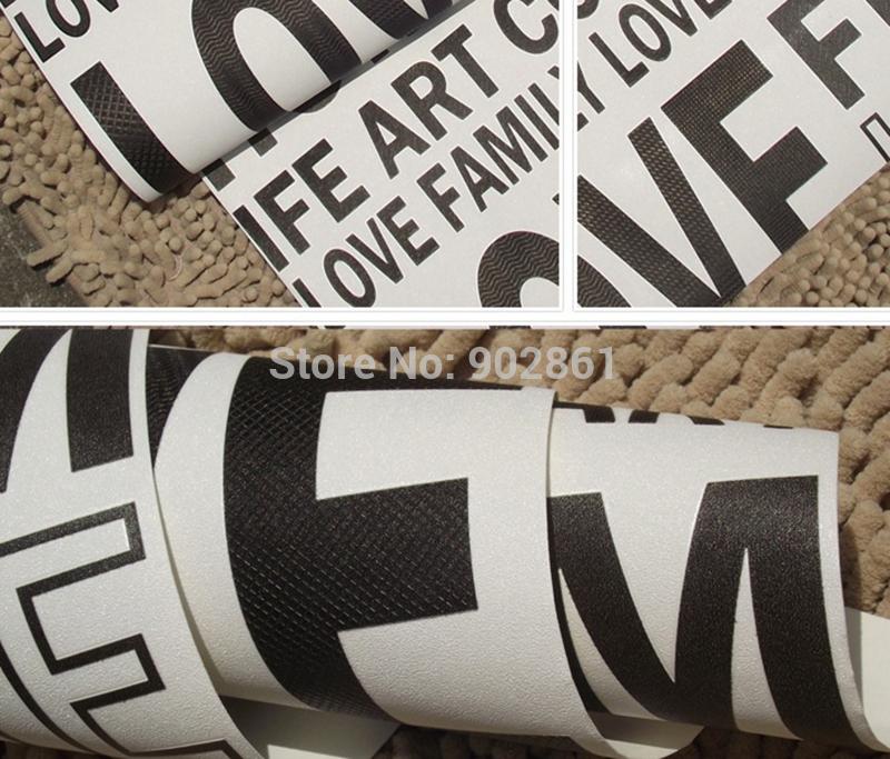 modern schwarze tapete buchstaben auf wei e wand angebot sagen vinyl gepr gte strukturierte. Black Bedroom Furniture Sets. Home Design Ideas