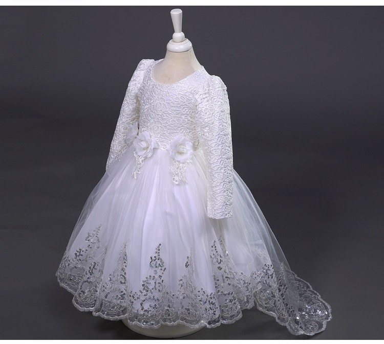 Скидки на Европа и соединенные Штаты летом девушка крючком с длинными с длинными рукавами платье девушки цветка цветок хвост платье принцессы ребенок платье 2-12 т