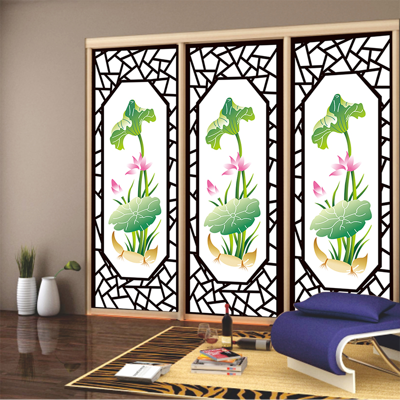 Privacy stickers on the window Custom closet sliding door window grilles lotus decorative stained glass opaque film(China (Mainland))
