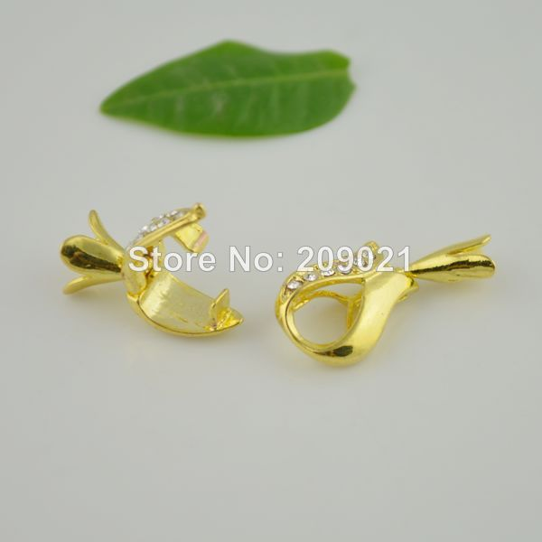 New! DIY 15Sets Golden Plated Toggle Clasps with Clear Crystal Rhinestones as Leather / Cord / Chain Connector(China (Mainland))
