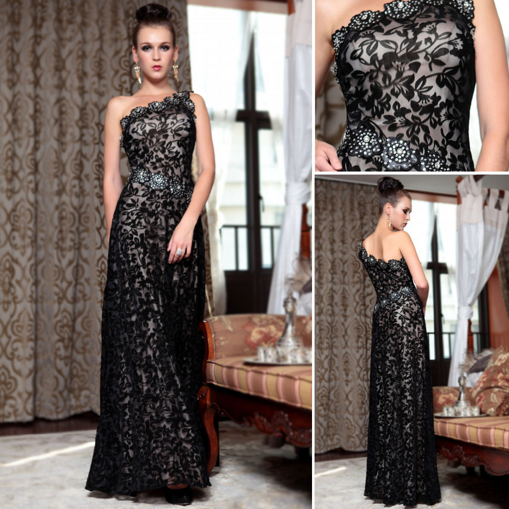 DORISQUEEN 30856Free Shipping dropshipping floor length In Stock  Black Lace crystal One Shoulder Rhinestone Evening Dress Long