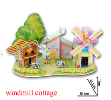 Hot sale hight quality  Educational 3D Model windmill cottage Puzzle Jigsaw Crafts Children Kids Toy Great Gift for baby  new(China (Mainland))