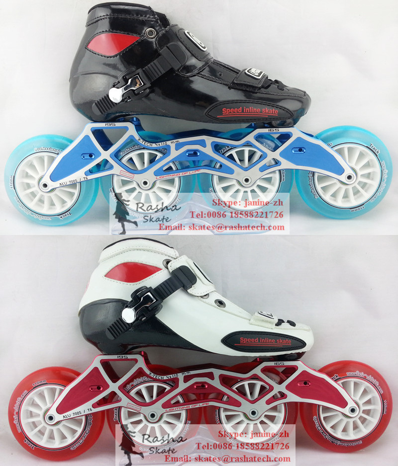 C Black inline skating shoes Red Professional adult child roller skates with Crystal wheels speed skate(China (Mainland))