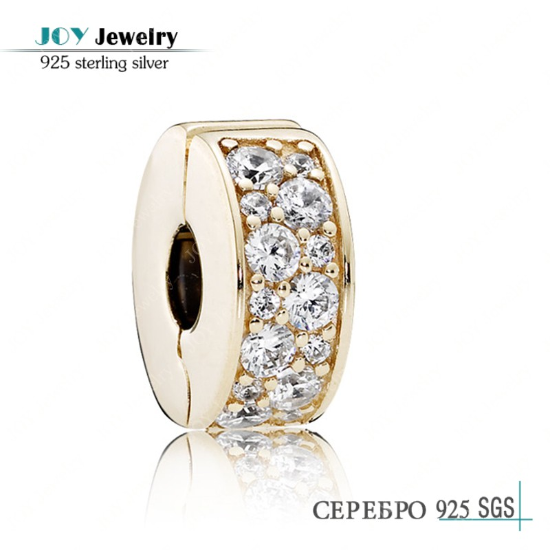 2016 Spring Collection 14k Solid Gold Shining Elegance Clear Cz Clip Charm Beads JOY JEWELRY For European Brand Bracelet DIY<br><br>Aliexpress