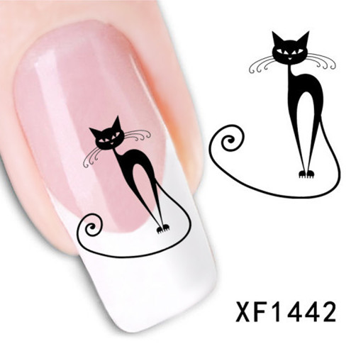 Loveliness Cat Water Transfer Nail Stickers Gel Beauty Decal Makeup temptation Cartoon Cat Sweetheart Animation(China (Mainland))