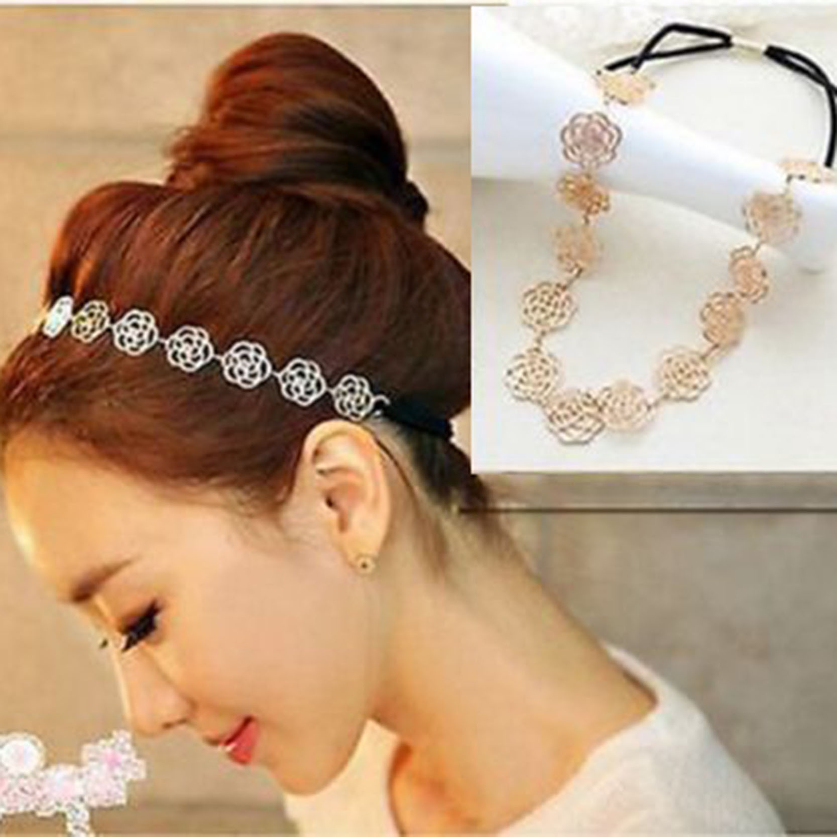 Fashion Women Rose Flower Design Hair Bands Headband Rubber Band Adjustable Hot Sale Hair Accessories(China (Mainland))