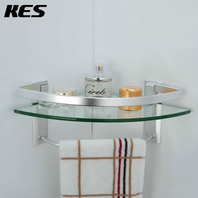 Kes a4123a aluminum bathroom glass corner shelf with towel - Bathroom glass corner shelves shower ...
