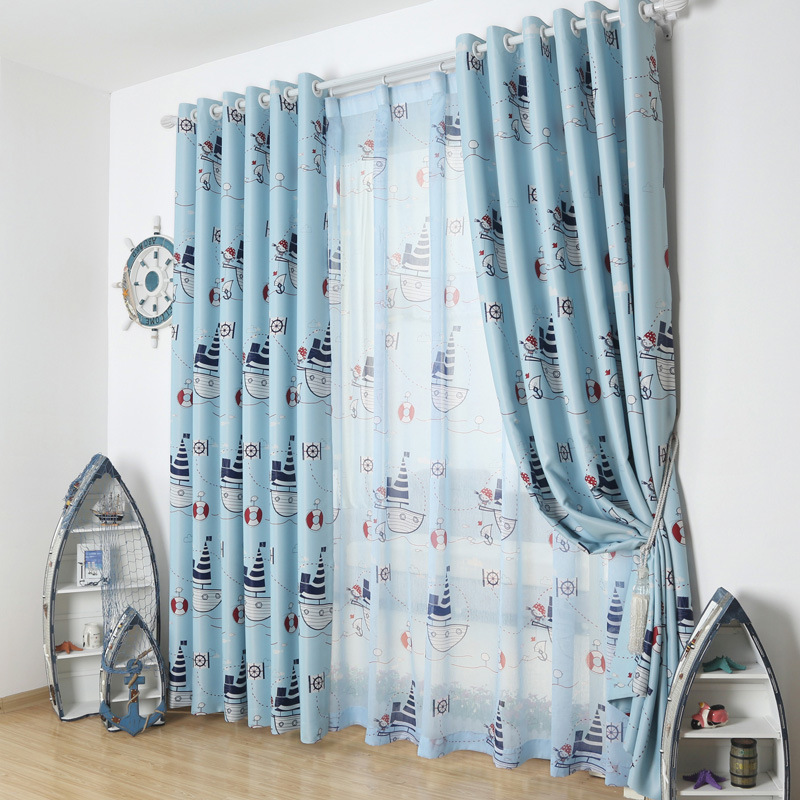Mediterranean sailing adventure cartoon children 39 s room for Fabrics for children s rooms