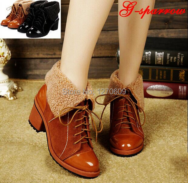 New arrival womens british style shoes  thick heel high-heeled martin boots knee-high womens boots plus velvet single boots<br><br>Aliexpress