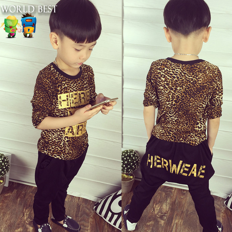 All Children's Clothes And Accessories Kid Long Sleeve Leopard Print Letter Tshirt+Harem Pants Children Clothing Set Autumn 2015(China (Mainland))