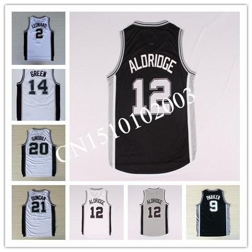 12 Lamarcus Aldridge 9 Tony Parker 21 Tim Duncan 2 Kawhi Leonard 20 Manu Ginobili San Antonio Basketball Jersey,(China (Mainland))