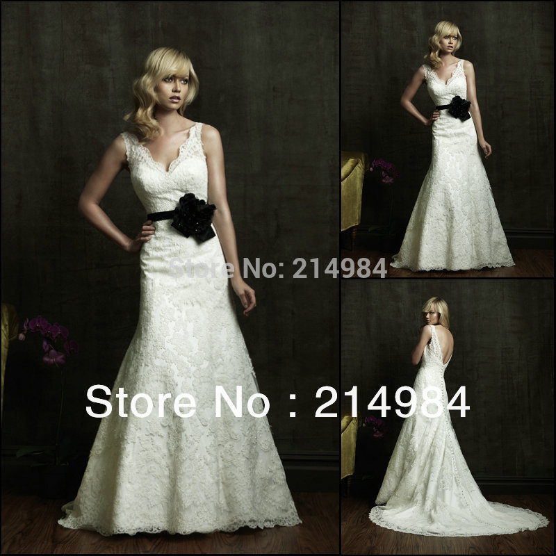 Sexy v neckline backless white ivory lace black flower for Belt for lace wedding dress