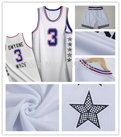 New Arrival 2015 East All Star Basketball Jersey #3 DWYANE WADE Jersey 100% Embroidery Logo High Quality All Star Shorts Jersey(China (Mainland))