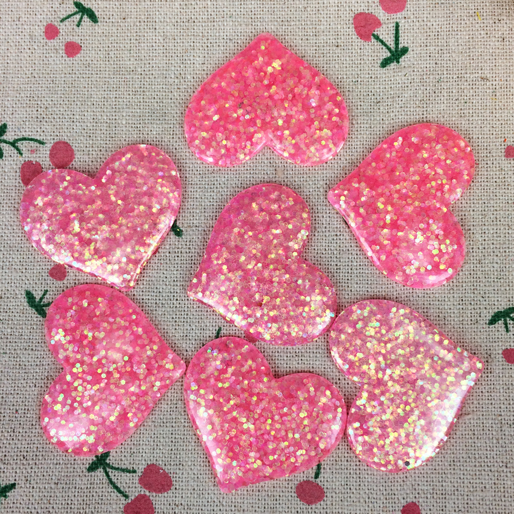 10Pieces Flat Back Resin Cabochon Kawaii Heart Filled Glitter DIY Flatback Decorative Craft For Hair Bow Center:32*37mm(China (Mainland))