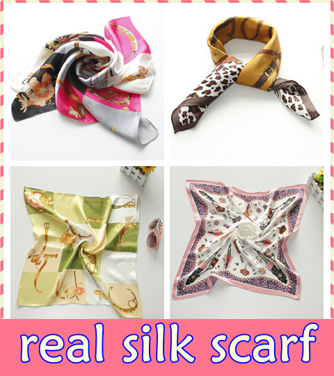 DHL FREE SHIPPING~50pcs/lot~100%pure silk scarf ~52*52cm~Thick Style~Top Quality Ladies Silk Square Nautical Head / Neck Scarf