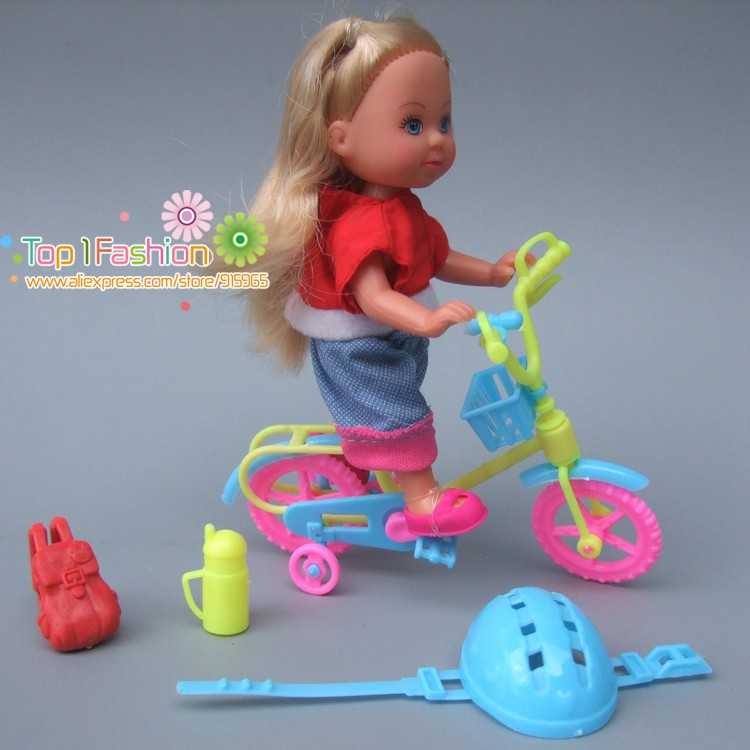 Funny toys for baby girls play house toys plastic bike and safty cap kit For Barbie doll for kelly doll