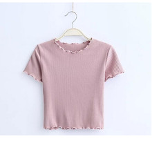 Buy Vintage Wood ears O neck Short sleeve T-shirt 2017 New Woman Slim Fit t shirt tight tee Summer Retro Tops 6 colors for $8.75 in AliExpress store