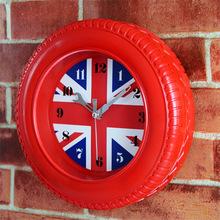 2016 Fashion 3D Wheel style British flag Wall Clock DIY Clock Creative Desk Table Silent Wall Clock Christmas gift(China (Mainland))