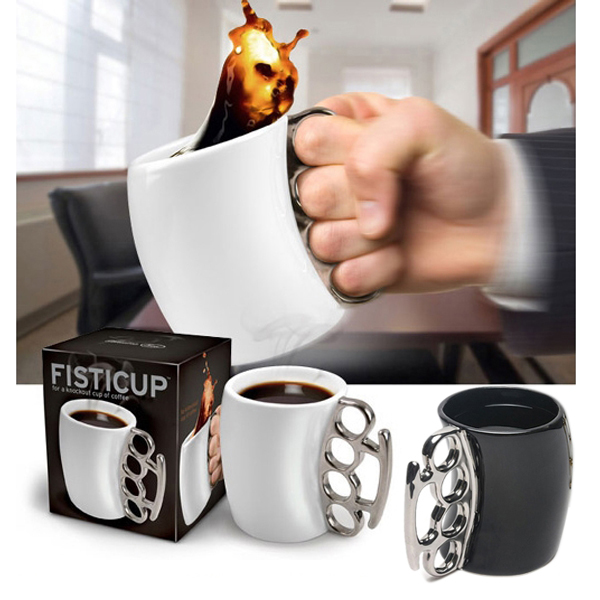 New Novelty Design Fist Cup Brass Knuckle Duster Handle Cup Coffee Milk Ceramic Mug Creative Cup jarra taza de la leche Hot Sale(China (Mainland))