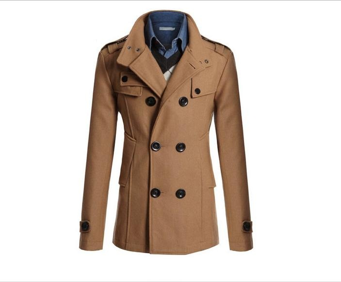 Korean men woolen coat jacket fall and winter fashion Slim double-breasted coat lapel long section woolen coat jacket #651965(China (Mainland))