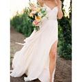 Romantic Sexy Spaghetti Straps Backless Beach Bride Dress abito da sposa Beach Wedding Gowns with Slit
