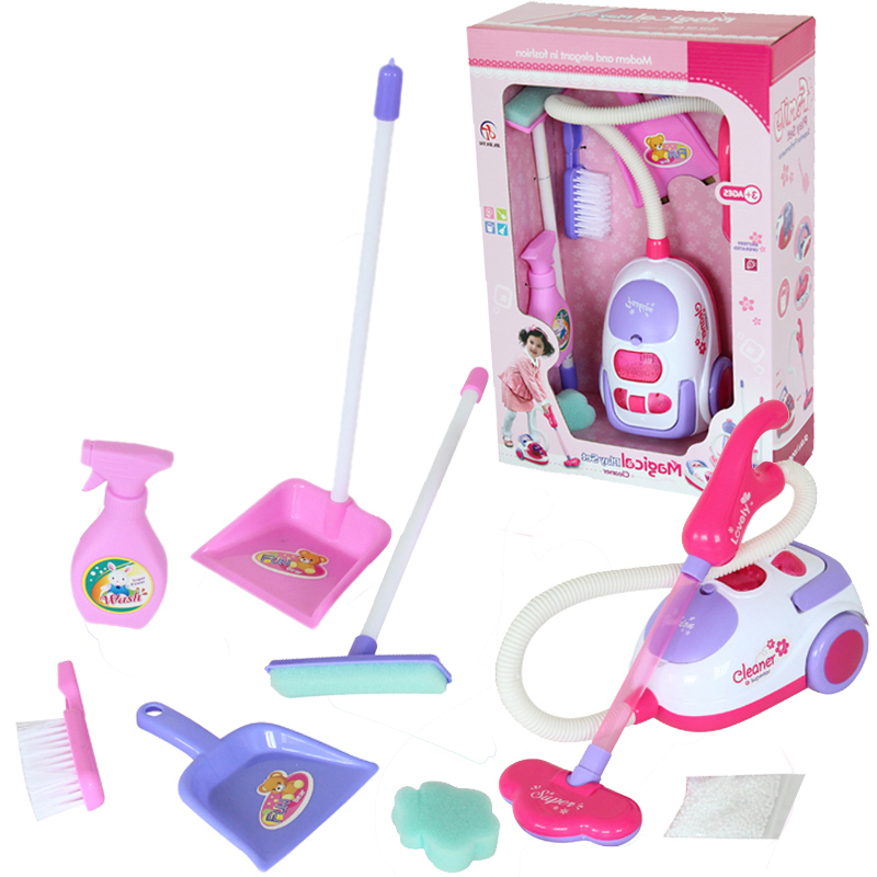 Classic Pretend Play Children Cleaning Toys Set Electric Simulation Vacuum Cleaner Cleaning Tools Toy for Kids(China (Mainland))