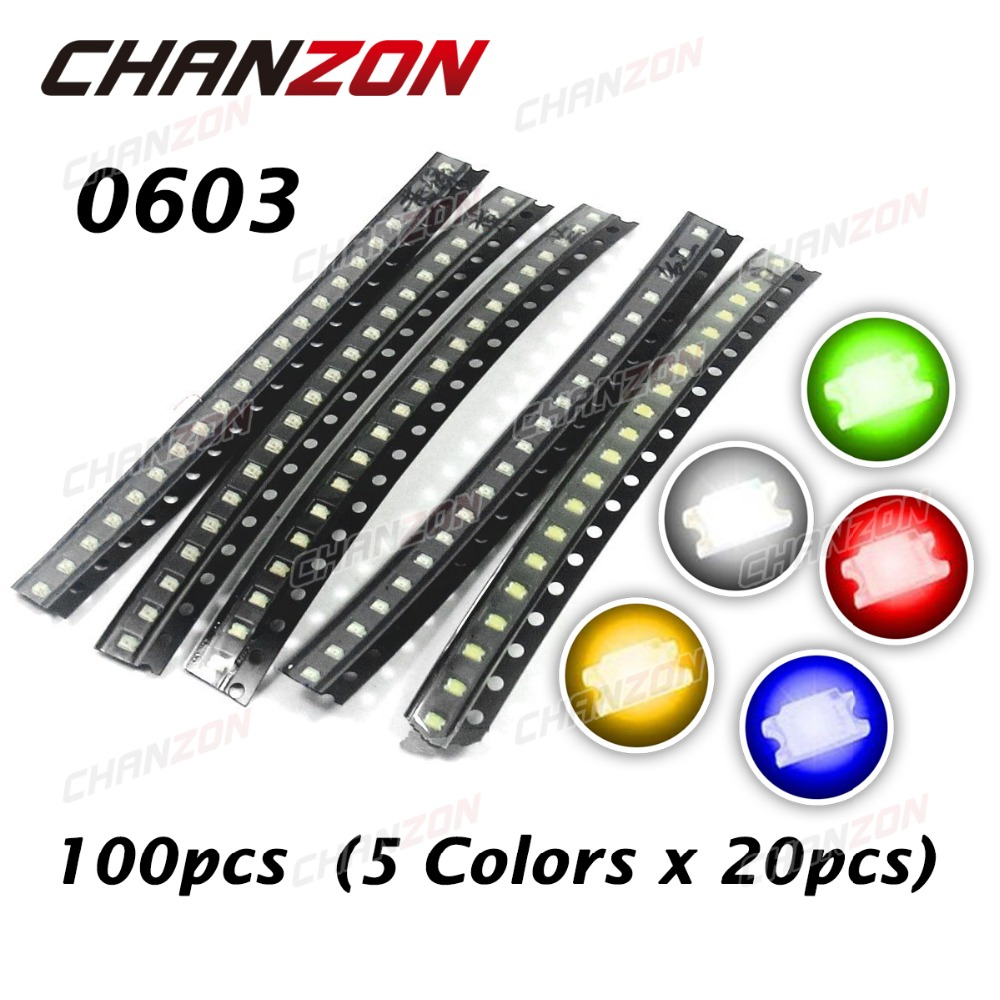100pcs (5 colors x 20pcs) 0603 (1608) SMT SMD LED Chip Assorted Kit Blue Red White Green Yellow Light Emitting Diode Lamp(China (Mainland))