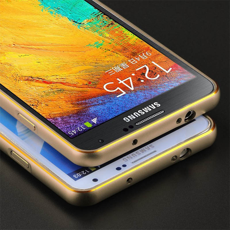 Double color Gold Edge Metal Bumper For Note 2 Note 3 Alu Aluminum Frame For N9000 N7100(China (Mainland))