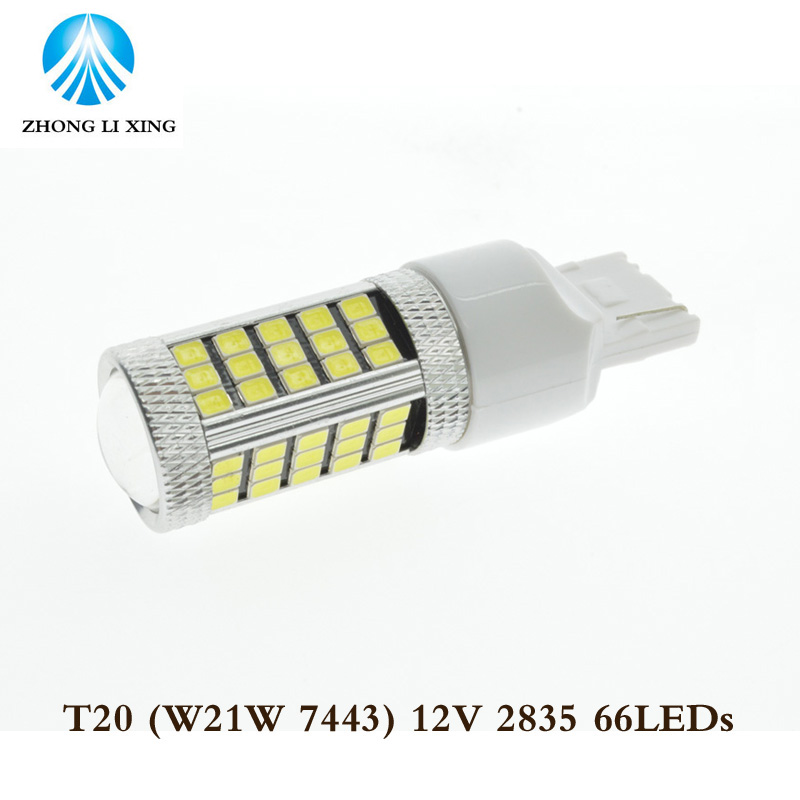 2pcs W21/5W 7443 T20 66 LED 2835 SMD car rear light stop bulbs auto brake lights back fog lamps white(China (Mainland))