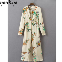 Buy Summer Dress 2017 Women Printed Cardigan Kimono Long Dress V Neck Long Sleeve Plus Size Elastic High Waist Shirt Dress Casual for $15.81 in AliExpress store
