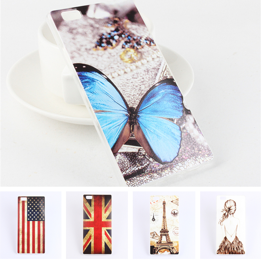"""Vintage Cartoon Soft TPU Case for Huawei P8 Lite 5.0"""" Eiffel Tower Ferris wheel Butterfly Owl US UK Flag Girls Phone Cover(China (Mainland))"""