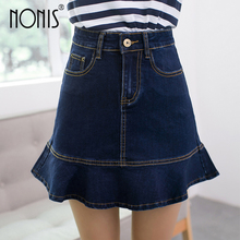 Buy Nonis 2017 New Denim jeans Mini Skirts Spring Summer High Waist Elegant Jeans Short Skirts femme Blue Grey Washed Jeans for $12.99 in AliExpress store