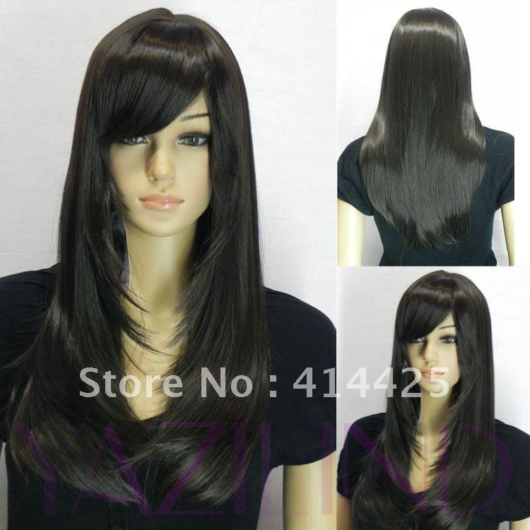 natural looking black long straight side swept bangs full