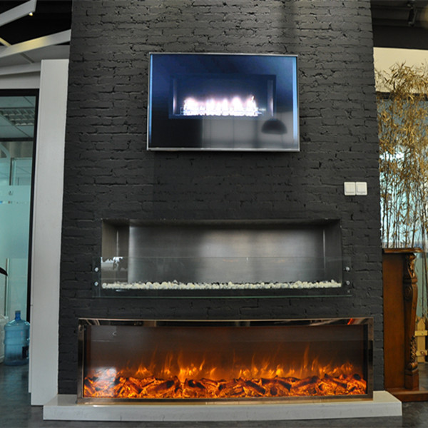 2015 New 304 Stainless Steel Gold Plated Decorative Electric Fireplace In Electric Fireplaces