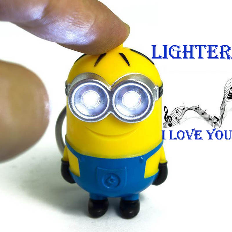 3D Mini Minions Toys Cartoon Movie Despicable Me 2 Minion Keychains Doll Sounding Lighting Action Figure Toys New Year Gift(China (Mainland))