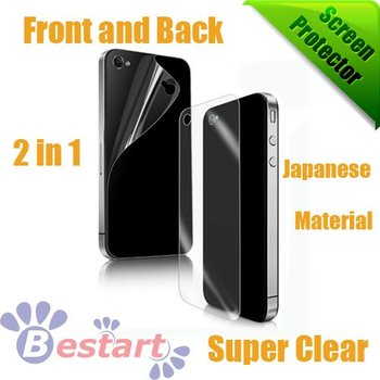 Free shipping, (Front and Back) Super Clear Screen Protector for iphone 4G/4S With Retail Package, Japanese Material