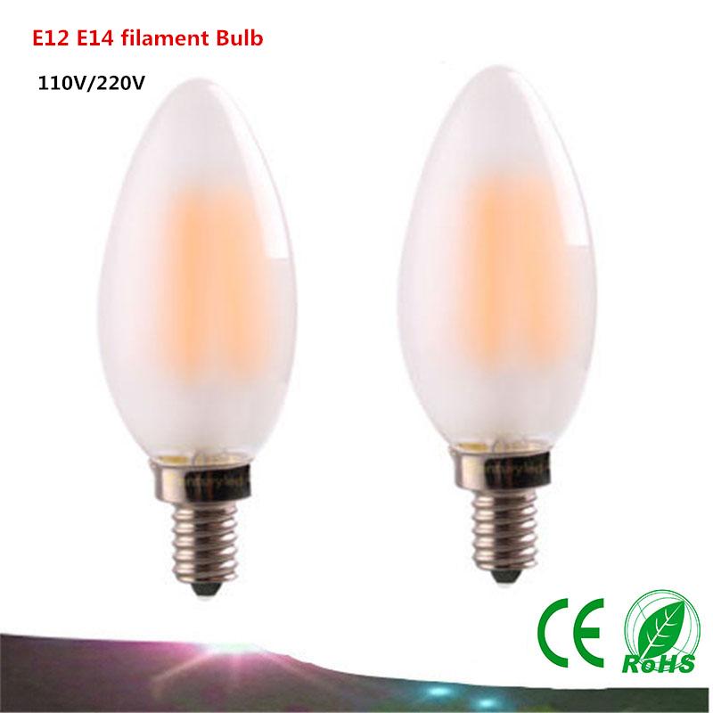 E12 E14 LED Bulbs 2W 4W 6W dimmable filament AC110V / 220V LED Candle Light C35 retro Edison LED lamp warm white / white(China (Mainland))