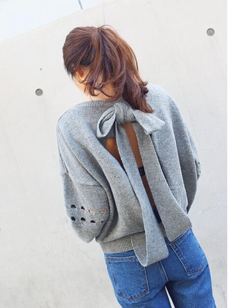 Женщины спинки свитера сексуальная леди девушки вязаный свитер отверстий женская ...