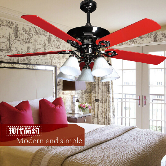 classics red and black modern fan lamp for living room led