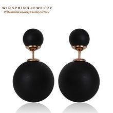 Fashion Paragraph Hot Selling Earrings 2014 Double Side Shining Pearl Stud Earrings Big Pearl Earrings For Women